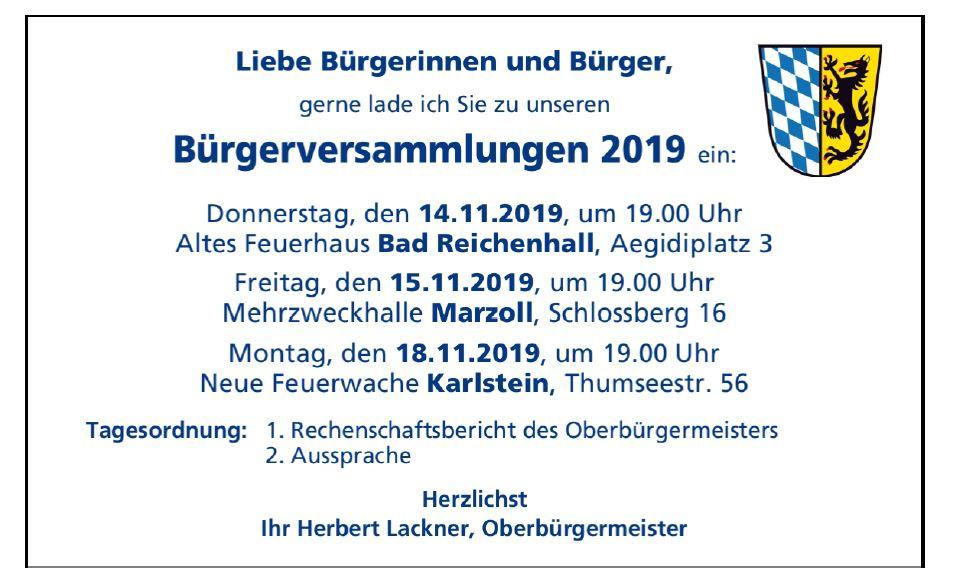 Einladung zu den Bürgerversammlungen