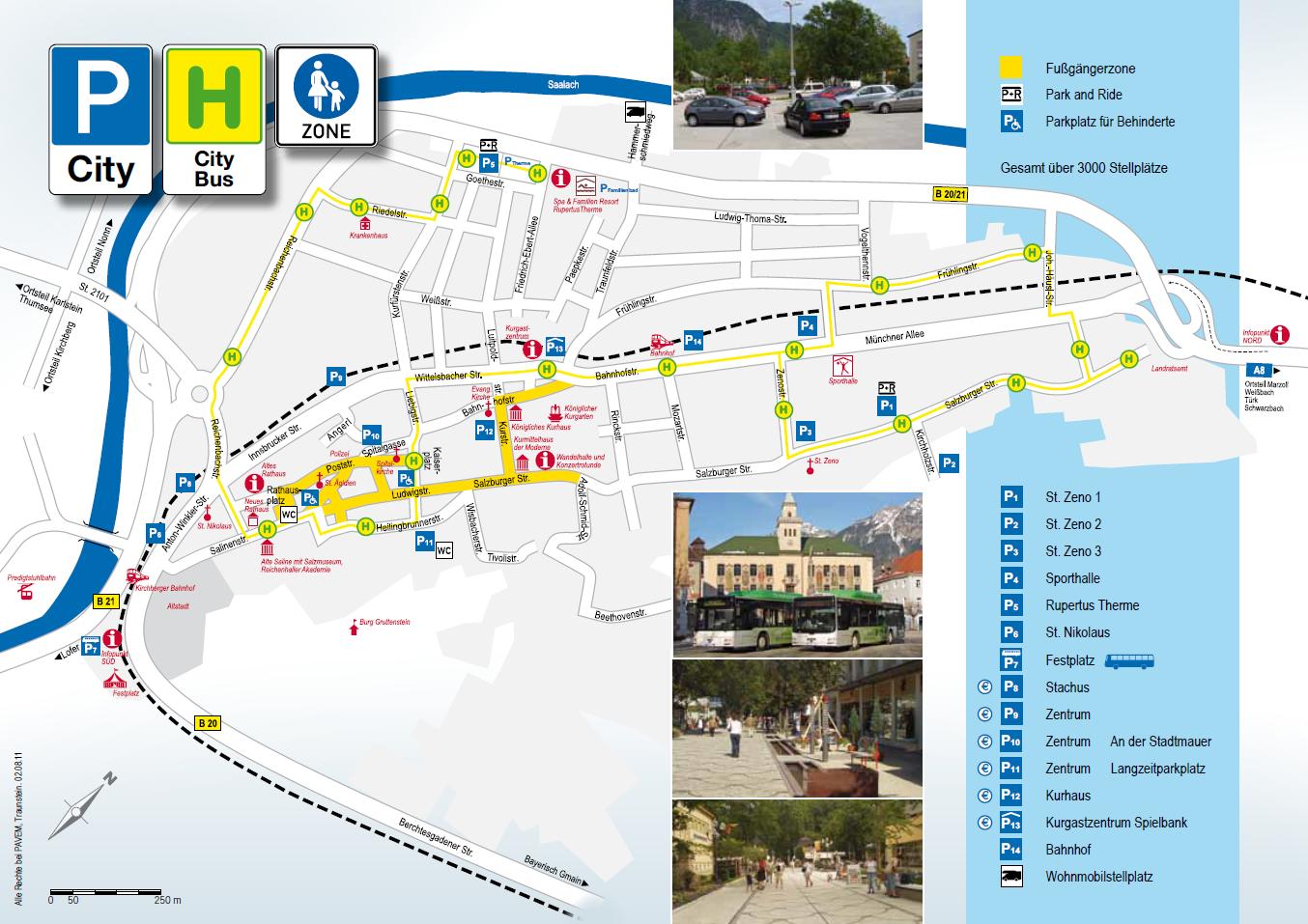 Parkplätze und City-Bus-Linien
